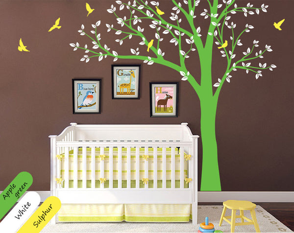 Green tree with birds, bird frames Wall Sticker