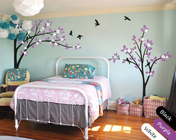 Blossoms Black Trees Birds Nursery Wall Sticker