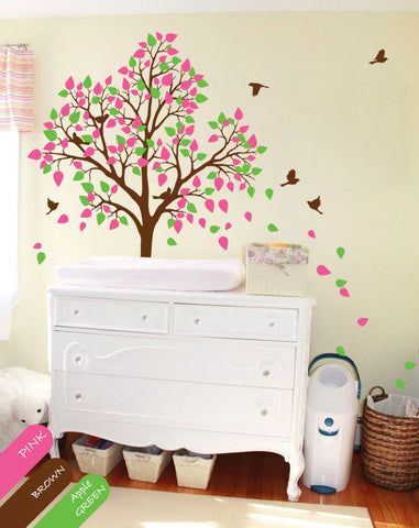 Brown Tree Birds & pink, green leaves Wall Sticker
