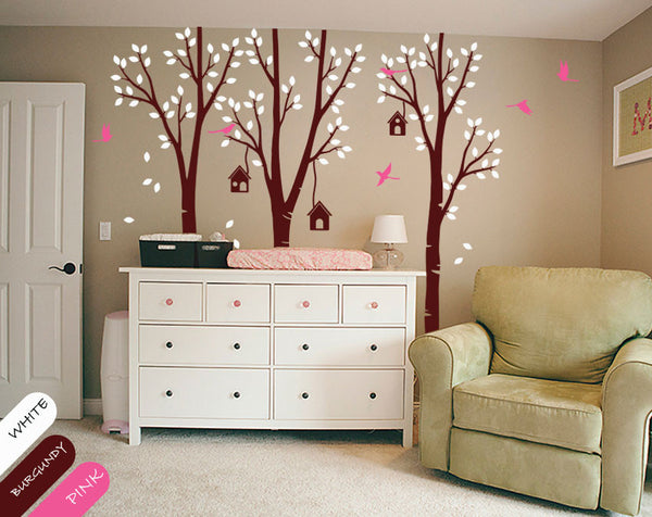 Large Burgundy Birch Trees Birds & Birdcages Wall Sticker