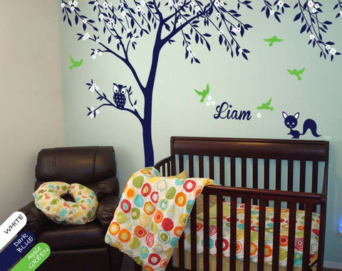 Large Tree with blossoms & leaves Nursery Wall Sticker