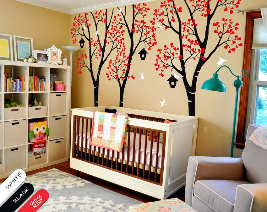 Birch Trees with Birds & Birdhouses Wall Sticker
