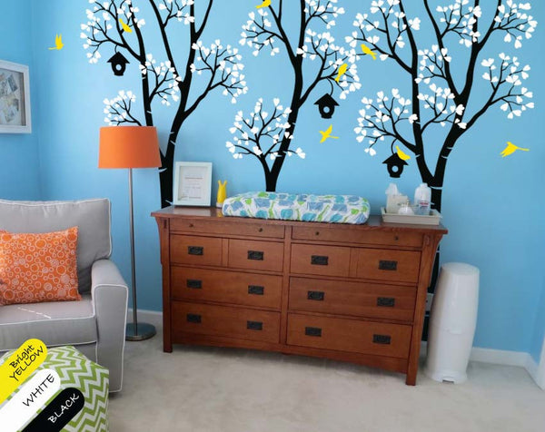 Black Birch Trees with White Leaves, Birds & Birdhouses Wall Decal Décor