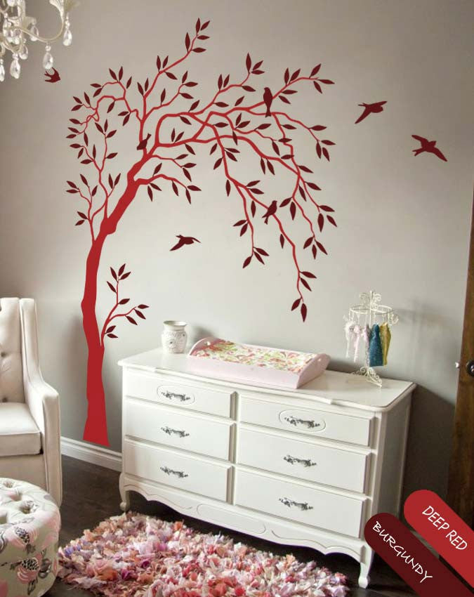 Long Tree with Branches, Leaves & Birds Wall Sticker