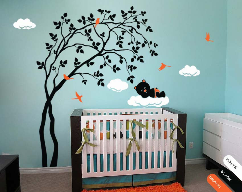 Black Trees Birds, Leaves & Bear Nursery Wall Sticker