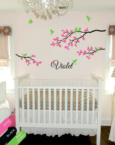 Tree Branches with leaves & Birds Nursery Wall Sticker