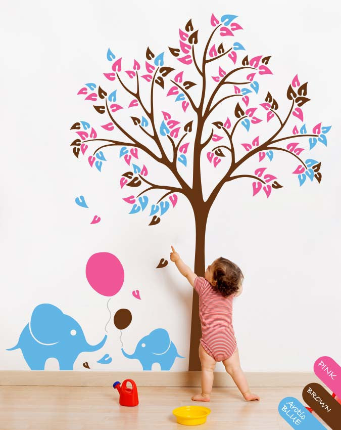 Brown Tree with Leaves, Balloons & Elephants Wall Sticker Vinyl Decal Décor