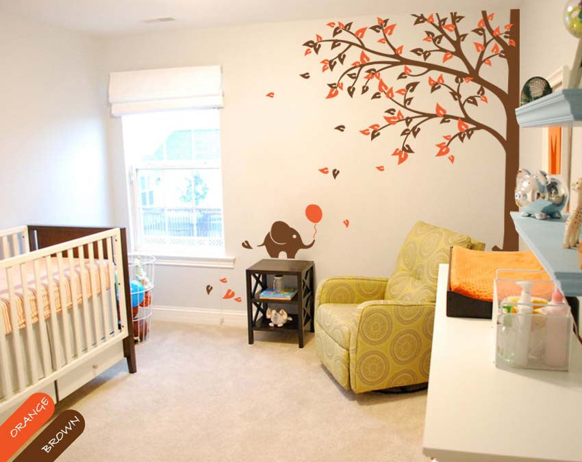 Large Corner Tree with Leaves & Elephants Wall Sticker