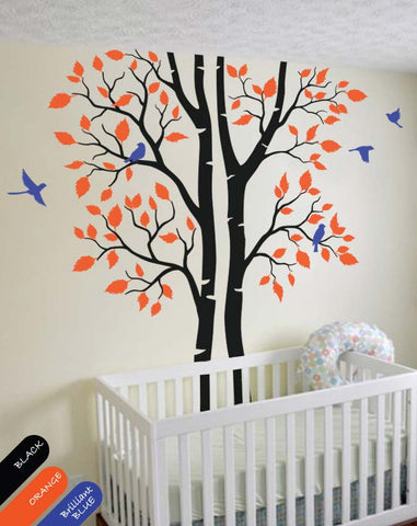 Large Black Birch Trees with Leaves & Birds Nursery Wall Sticker Vinyl Decal Décor