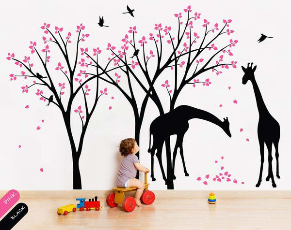Black Trees with Leaves, Birds & Giraffe Nursery Wall Sticker Vinyl Decal Décor