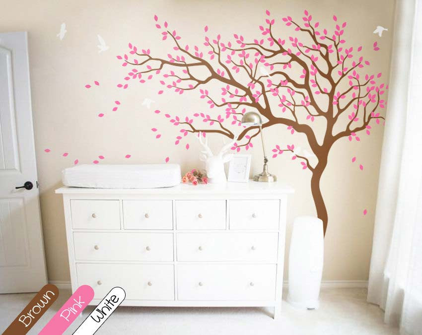 Brown Tree with Large Branches & Birds Wall Sticker