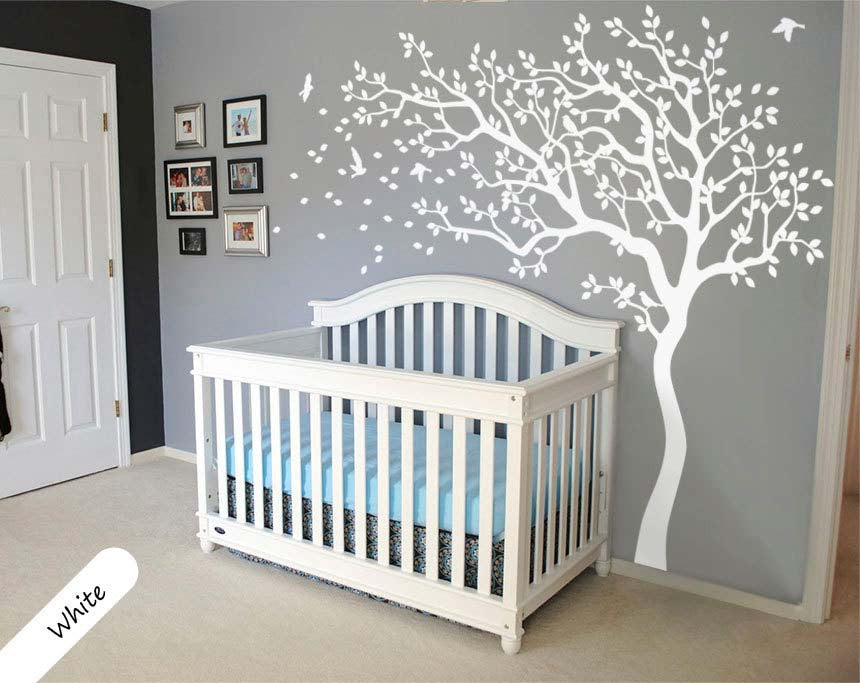 White Tree Wall Decal With Large Branches U0026 Birds Wall Sticker