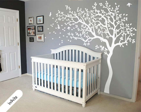 White Tree Wall Decal with Large Branches & Birds Wall Sticker