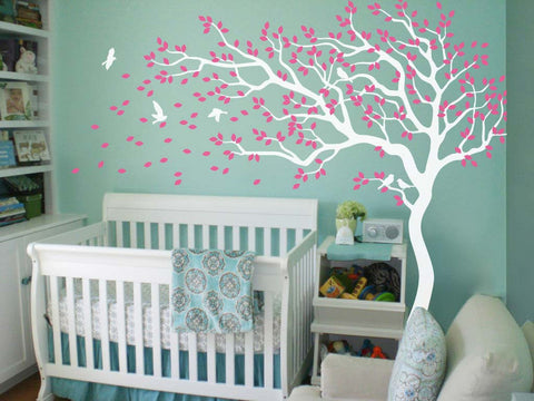 White Tree with Large Branches, Pink Leaves & Birds Nursery Wall Sticker
