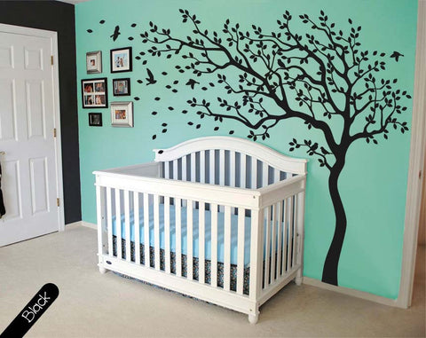 Complete Black Tree with Large Branches & Birds Wall Sticker