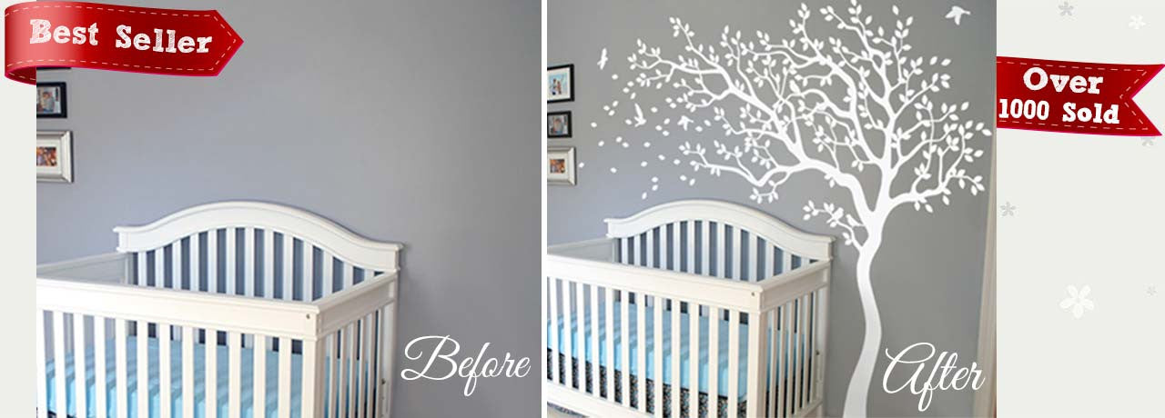 White Tree Wall Decal in the Wind