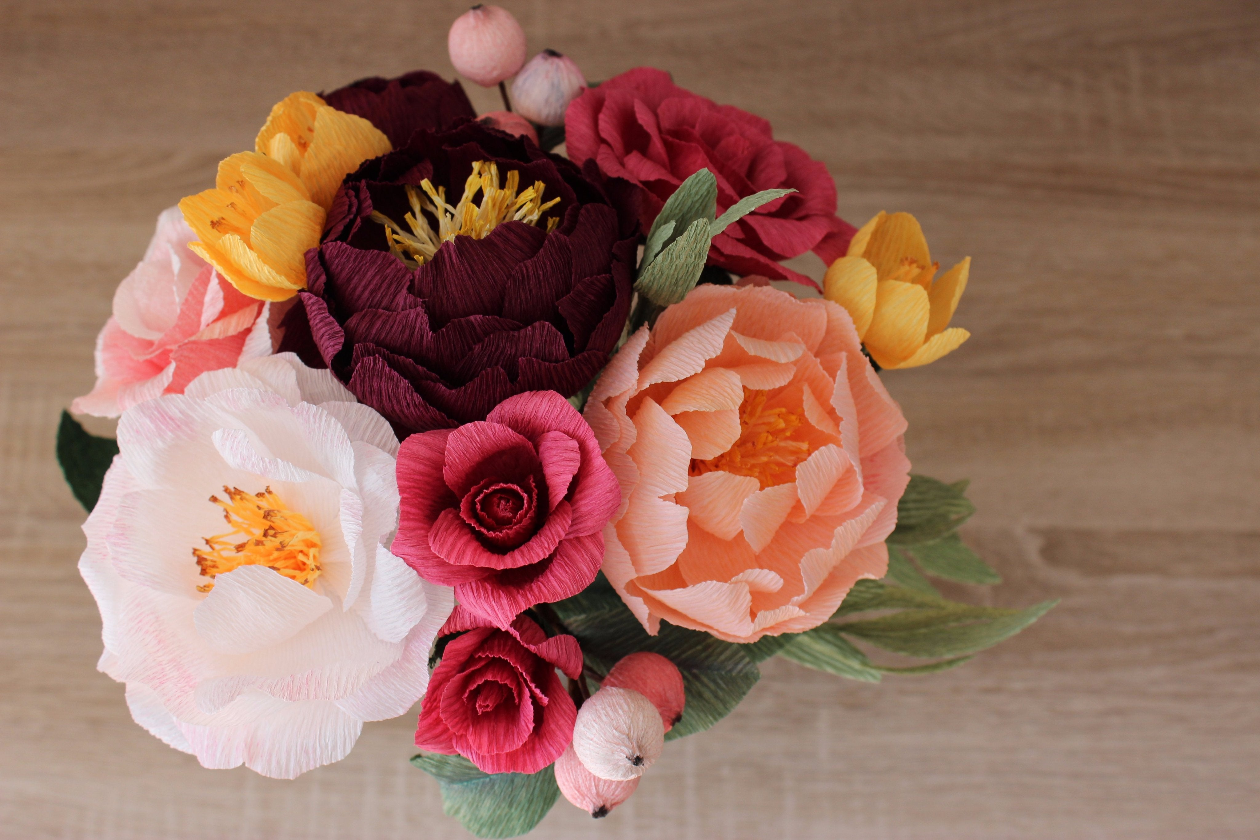 Wedding Paper Flower Bouquet With Berries Customizable Colors Ven