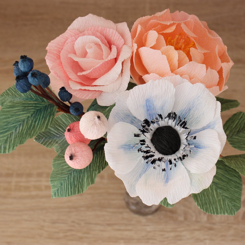 Flower arrangement with anemone, rose, peony, silver dollar ...