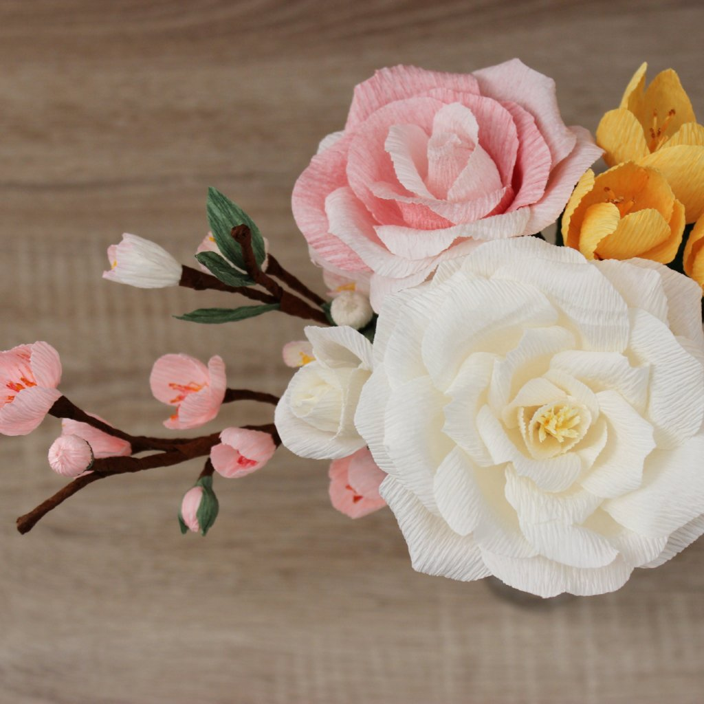 Paper Flower Arrangement With Rose Crocus And Cherry Blossoms Ven