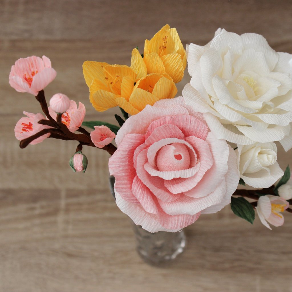 Paper flower arrangement with rose crocus and cherry blossoms ven paper flower arrangement with rose crocus and cherry blossoms mightylinksfo