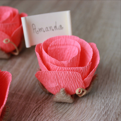 Coral wedding place name holders with name tags - VEN Decor Handmade - 1