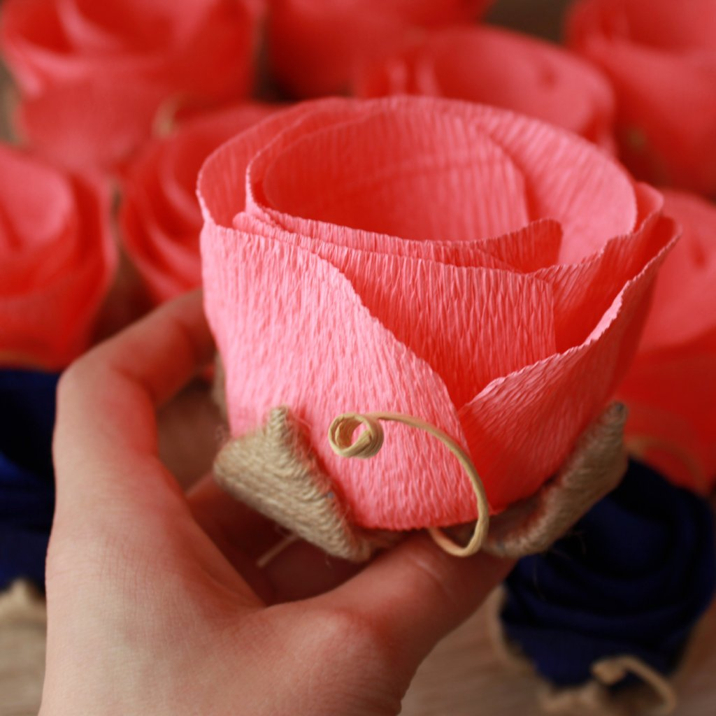 Paper flowers for led lights wedding party table centerpiece ven rustic coral paper flowers for led lights set of 6 ven decor handmade mightylinksfo