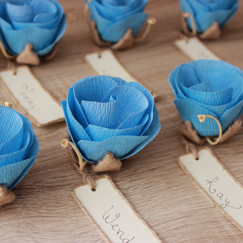Rustic wedding dinner place card holders with handwritten name cards ...