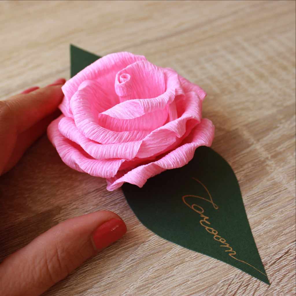 3d Wedding Party Paper Rose Place Cards Spring Garden Wedding Decor