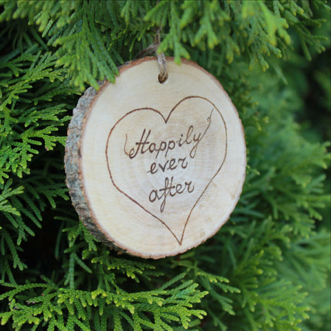 Wood burned tree slice wedding ornament - VEN Decor Handmade - 1