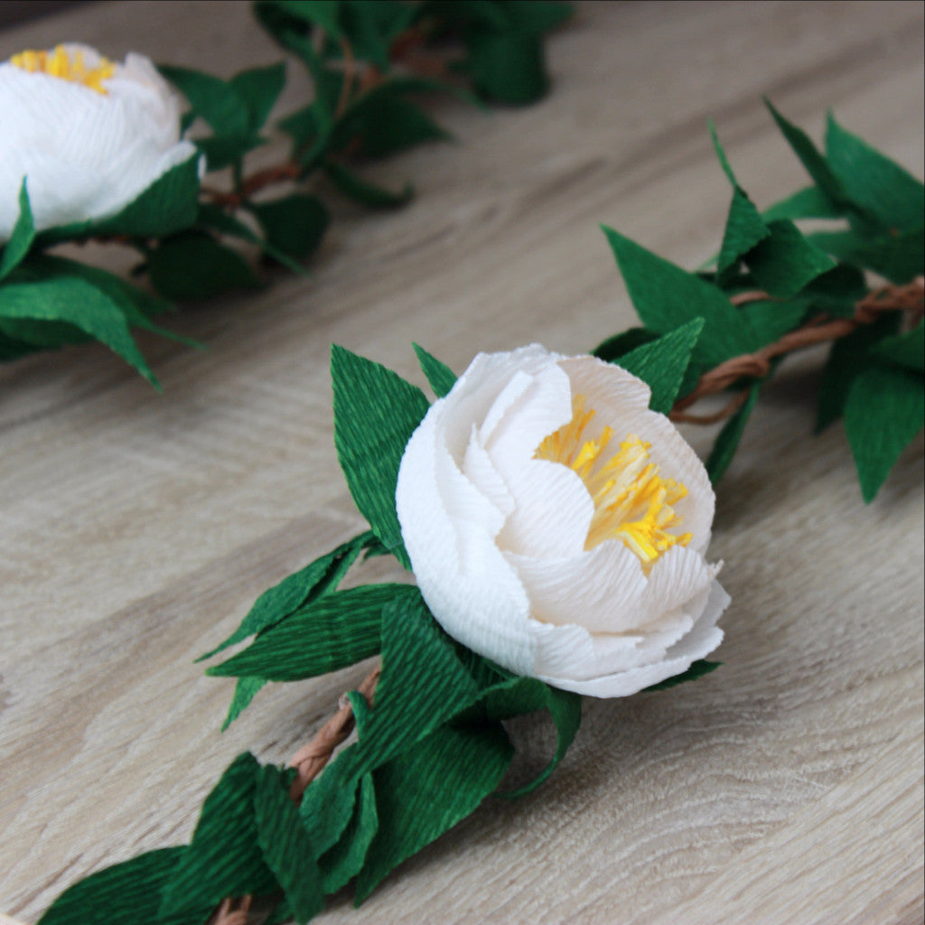 Paper Peony Garland With Green Leaves Custom Peonies Garland Ven