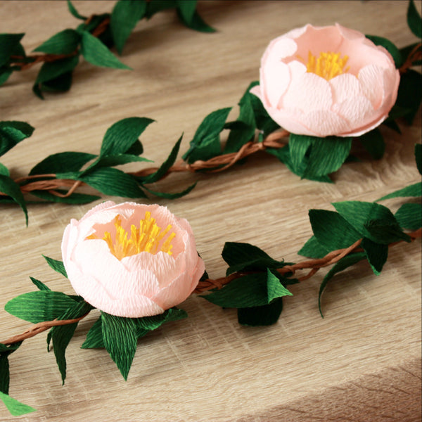 Paper peony garland with green leaves, custom peonies garland