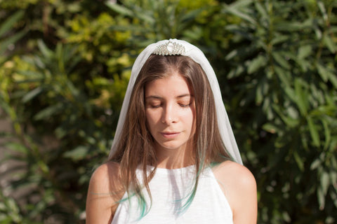 Cute Bachelorette Leaf Crystal Tiara with Veil