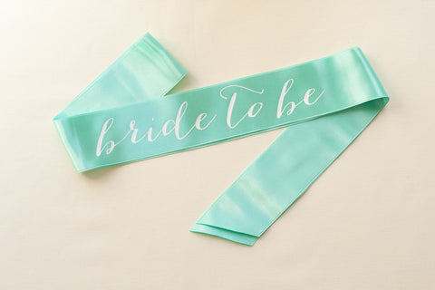Bride To Be Sash White on Teal Turquoise