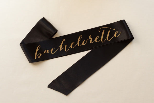 Bachelorette Sash Gold on Black