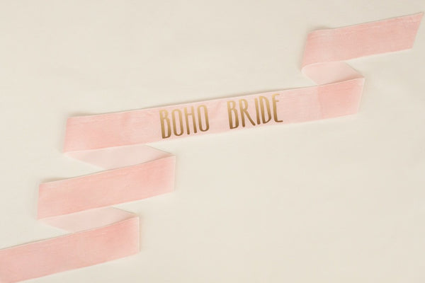Boho Bride Bachelorette Sash Gold on Blush Velvet