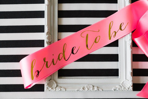 Bride to be Sash Gold Mirror on Neon Pink