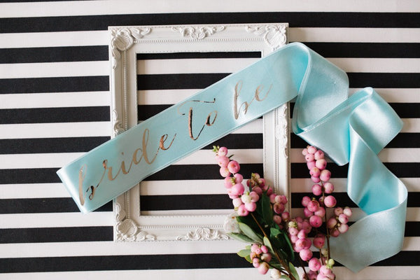 Bride to be Sash Silver Mirror on Ice Blue