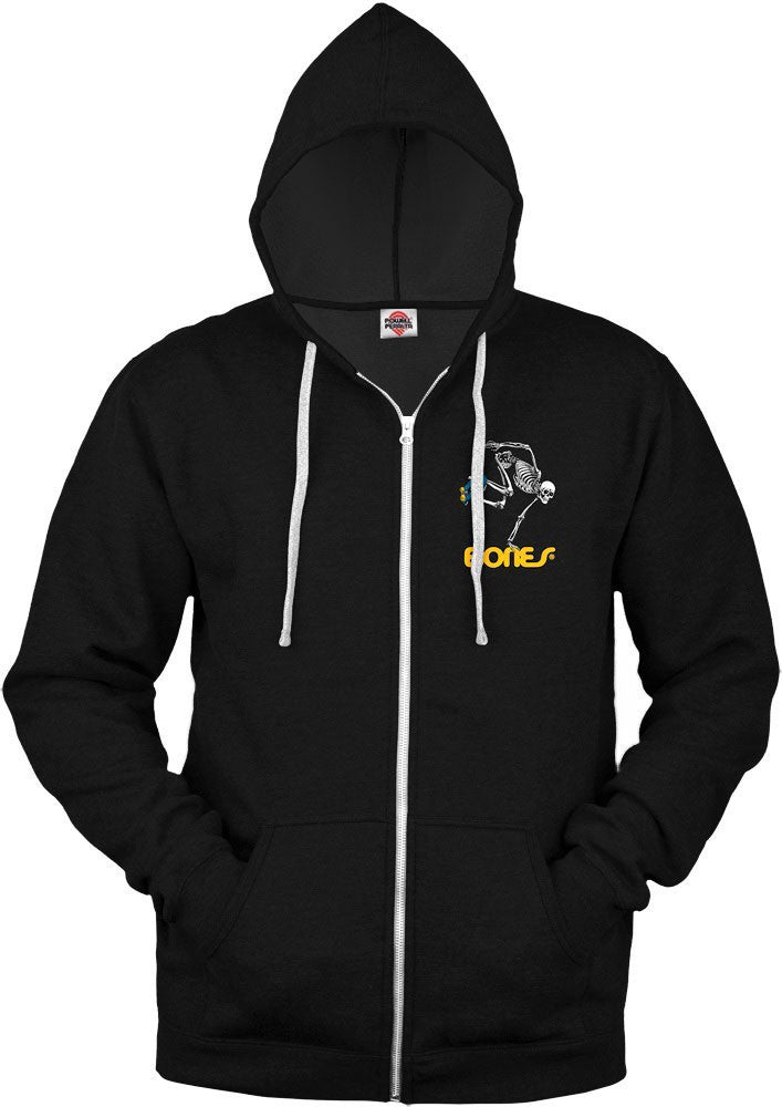 PP BONES SKELETON SKATEBOARDER ZIP HOOD | BLACK |