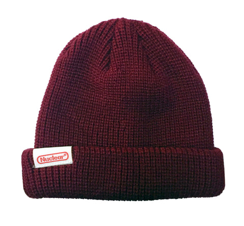 NUCLEAR SCIENCE RIB KNIT BEANIE | BURGUNDY |