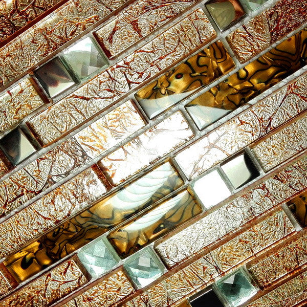 Retro Golden Peel and Stick Mosaic Decorative Wall Tile