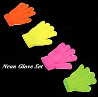 Blacklight Puppets-Glow in the Dark Gloves-Set of 4-Yellow-Pink-Orange-Green