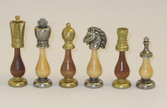 Big Staunton Style Metal and Wood Base Chessmen - Seasonal Expressions