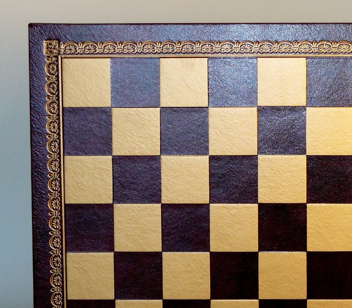 Gold and Blue Pressed Leather Chessboard - Seasonal Expressions - 3