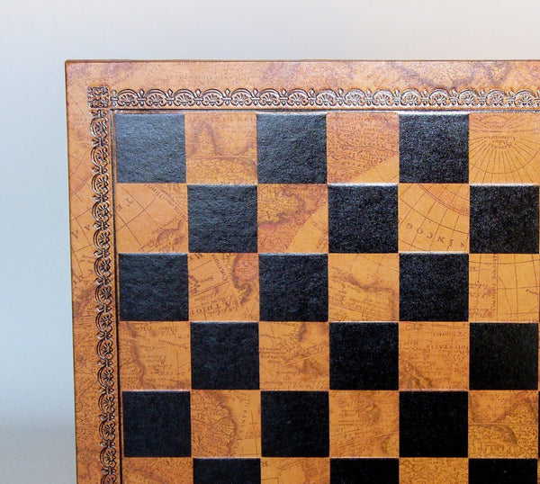 Pressed Leather Board Map and Black Chessboard - Seasonal Expressions