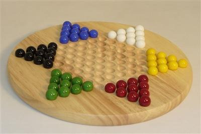 Family Game-Wood Round Chinese Checkers-Marbles