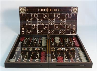 15 inch-Floral Decoupage-Wood Backgammon-Family Game