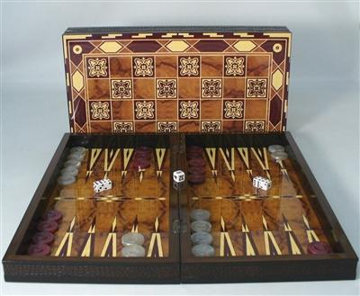 19 inch-Marrakesh-Decoupage-Wood-Backgammon-Family Game