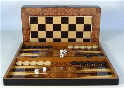 Backgammon-Family Game-19 inch-Burl Wood Style-Decoupage