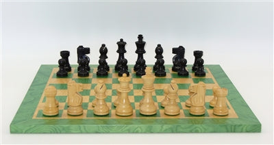 Chess Set-Black-French Men-Green-Tan-Board