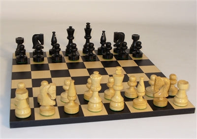 Chess Set-Black Russian-Boxwood-Maple Board